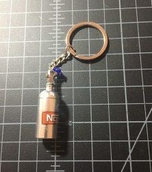 Nitrous bottle keychain silver