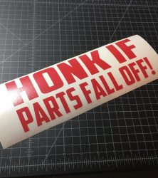 honk if parts fall off red
